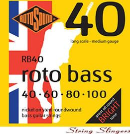 ROTOSOUND RB40 ROTOBASS BASS GUITAR STRINGS 40-100